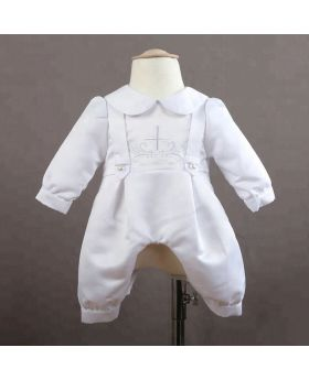 NOEL - White Baptism Romper for Baby Boy