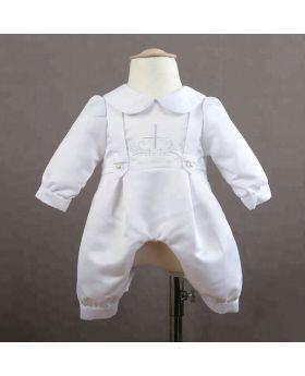 NOEL - White Baptism Romper for Baby Boy-S