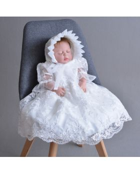 Rose - Baptism Dress & Cap for Girls