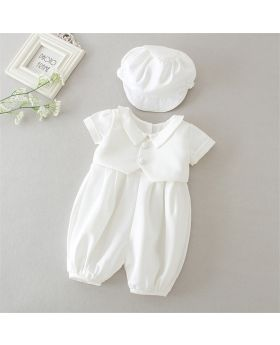 ADRIAN - Baptism Romper with Cap for Baby Boy